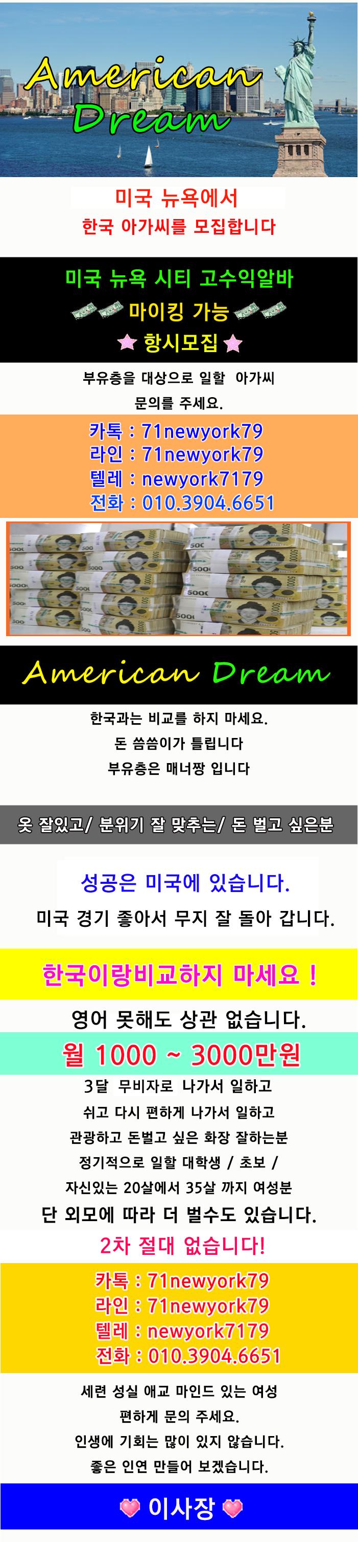 (미국밤알바) 뉴욕 부유층상대 월 1000만원에서 최소 3000보장